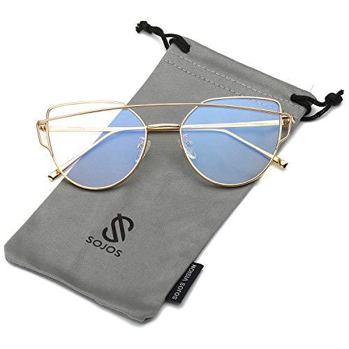 SOJOS Katzenauge Metall Rand Rahmen Damen Frau Mode Sonnenbrille Verspiegelt Linse Women Sunglasses SJ1001 mit Gold Rahmen/Klar Linse