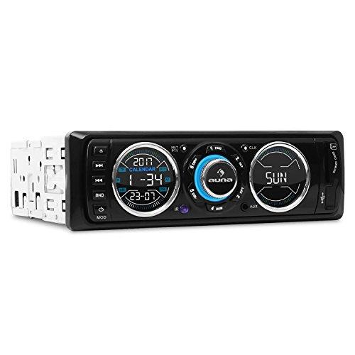 auna MD-180-BT • Autoradio • Car-Radio • Bluetooth • USB/SD-Port • Radio Tuner FM • MP3 • Entrée AUX • 2 x Sorties Line • Mains Libres • Blanc