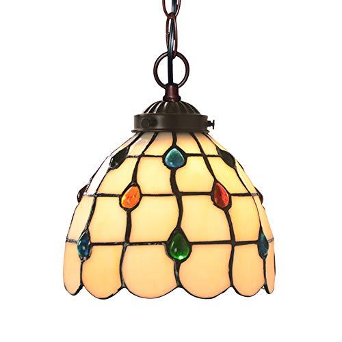 Kronleuchter, 7-Zoll-Vintage Tiffany-Stil Glas Pendelleuchte mit 7-Zoll-bunten Swag Hängelampe für Kücheninsel Esszimmer oder Schlafzimmer
