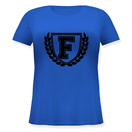 Anfangsbuchstaben - F Collegestyle - Lockeres Damen-Shirt in großen Größen mit Rundhalsausschnitt Blau