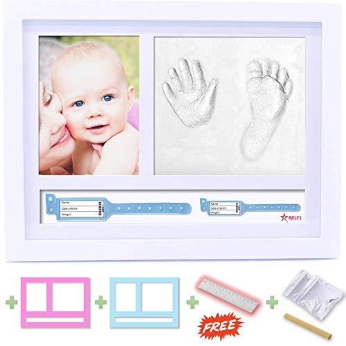 Belf1®cornice impronte bambino 2019 porta bracciali di nascita portafoto cornice impronte neonato set impronte bimbi kit portafoto con impronta manina e piedino del bebè il regalo bimbo perfetto