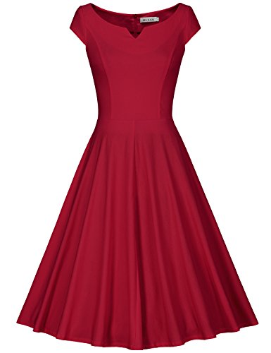 MUXXN Rétro robe de soirée de cocktail balancée de femme des années 1950 et 60 Burgundy
