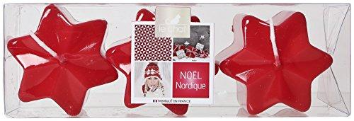 LE CHAT Nordic Navidad charlando 1166591 Caja de 3 Velas Estrellas - Efecto Brillante de Color Rojo