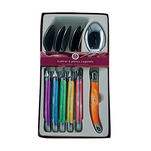 Laguiole Production - Coffret 6 couverts multicolores - Couverts de table en acier inoxydable - Présentation coffret cadeau