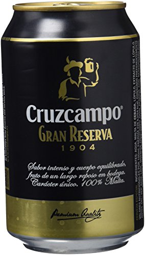Cruzcampo Gran Reserva Beer - Box of 24 Cans x 330 ml - Total: 7.92 L