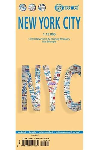 Nueva York plano callejero plastificado. Escala 1:15.000. Borch.