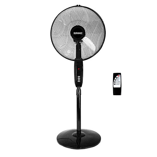Duronic FN60 Ventilatore turbo oscillante a piantana 60W - 5 Pale Ø 45 cm a base circolare - Altezza regolabile 119 - 137 cm - 3 Velocità - 3 Funzioni e timer -Telecomando - Potente e silenzioso