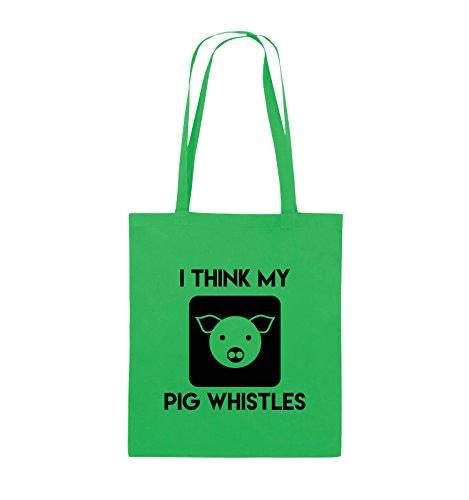 Comedy Bags - I THINK MY PIG WHISTLES - Jutebeutel - lange Henkel - 38x42cm - Farbe: Schwarz / Silber Grün / Schwarz