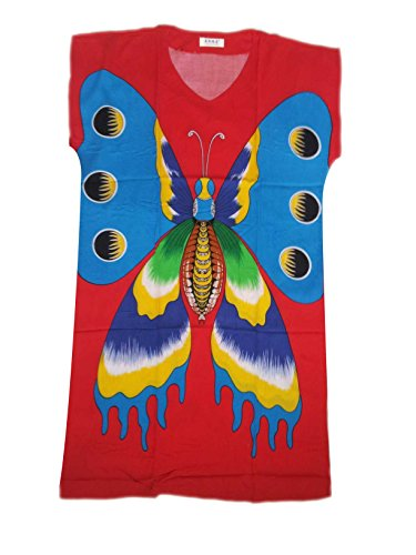JTC Femme Vêtement de Nuit Robe Imprimé Chinois rouge papillon