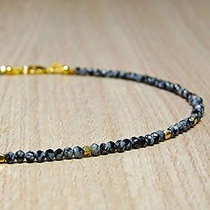 Edelstein-Kette, Schneeflocken-Obsidian mit vergoldetem Silber