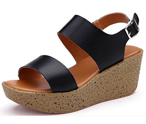 WZG Été Sandales nouveau sandales en cuir décontractée épaisse pente de la croûte avec de hauts talons des sandales secoua slip chaussures en cuir Black