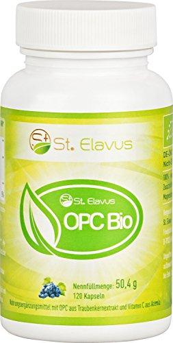 BIO OPC Traubenkernextrakt Kapseln aus Frankreich + Vitamin C aus BIO Acerola, 100% natürlich und rein, zertifiziert + hochdosiert + ohne Zusatzstoffe, 120 Kapseln, 1er Pack (1 x 50,4 g)