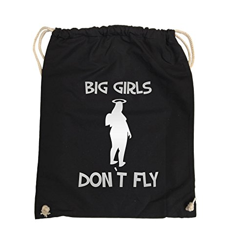 Borse Commedia - Big Girls Dont Fly - Turnbeutel - 37x46cm - Colore: Nero / Argento Nero / Argento