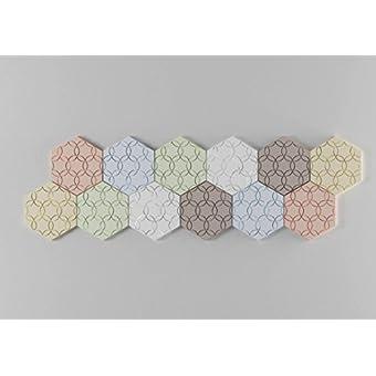 Panelados - Pack Iris teselados decorativos de pared (Mod. Flor). Motivos geométricos. Composición DIY. Autoadhesivo. 12 piezas.