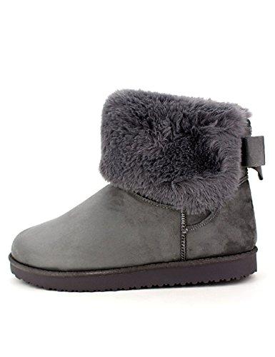 Cendriyon Boots Grises Fourrées UTGA Chaussures Femme Gris