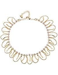 Bijou Vertex Delicate Light Gold Metal Drop Anklet With Loops & Crystal Gems
