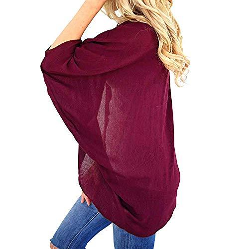 VECDY Damen Jacken,Räumungsverkauf- Frauen Sommer einfarbig Kimono Cardigan lose Ärmel vertuschen Lässige warme Jacke