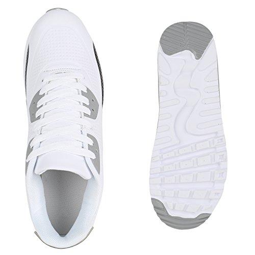 Herren Sportschuhe Laufschuhe Sneakers Runners Profilsohle Weiss Grau Schwarz