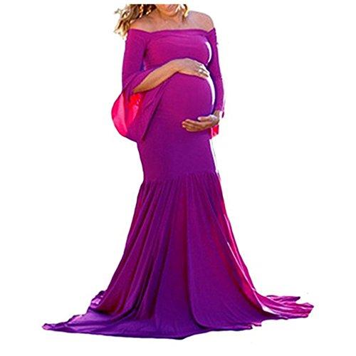Damen Umstandskleid Maternity Damen Schwanger Lange Kleider Mutterschaft Fotografie Kleidung...