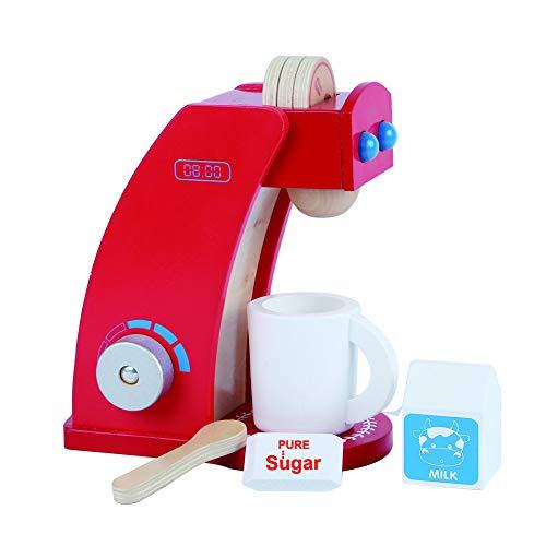 B&Julian Kaffeemaschine Spielzeug aus Holz mit 3 Kaffeepads Becher Milch Zucker Zubehör Kinderküche Set 8 TLG. für Kinder ab 2 Jahre