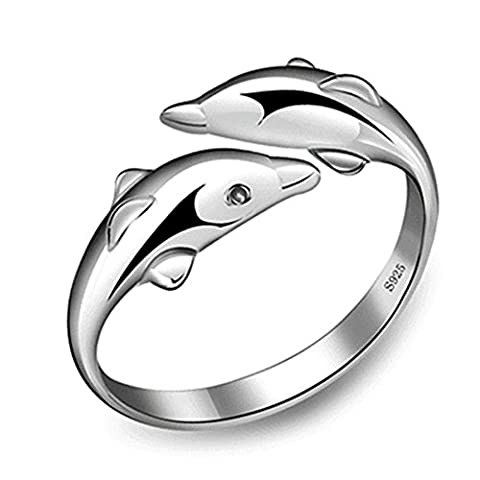 New Fashion 925 Sterling Silver Double Dolphin Opening Adjustable Rings Gift New