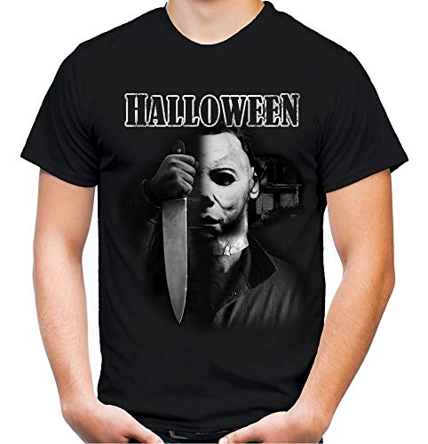 d Herren T-Shirt | Kostüm Michael Myers Party Horror Kult | M4 (3XL, Schwarz) ()
