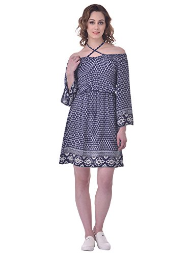 MARTINI Women Blue Halter Neck Off-the-shoulder Long Sleeves Border Print Rayon Plus...