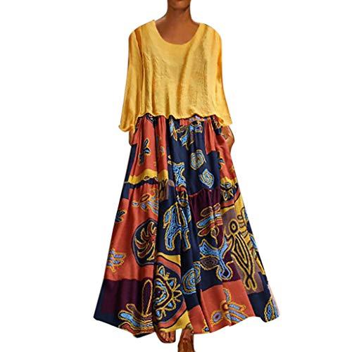 Kleider Damen, GJKK Oversize Maxikleid Freizeit Kleider Lose Blumenkleid Sommer zweiteilige Cocktailkleid Elegant Kleid Partykleid Strandkleid Festliche Kleider -