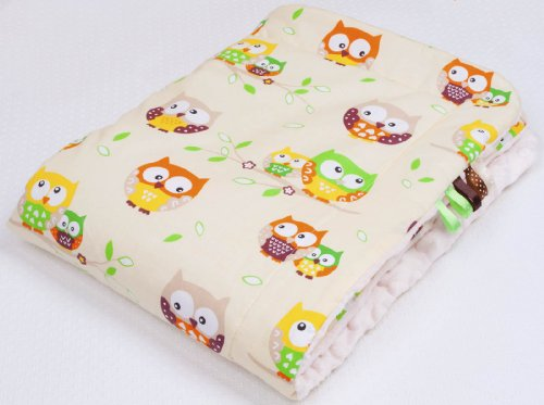 Babydecke FLAUSCHIG Decke Kinderdecke Babydecke 75x100 Kuscheldecke Eule ecru/ecru ()