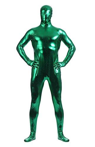 CHENGYANG Zweite Haut Ganzkörperkostüm Für Herren Mit Rücken Reißverschluss Catsuit Zentai Grün 2XL