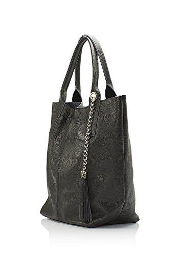 """Show Some Love """"Cecilia"""" Italienische Damen-Handtasche Henkel-Tasche Shopper Echt-Leder made in Italy Schwarz"""