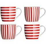 Premier Housewares Set of 4 Stripe Barrel Mug, Red