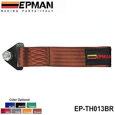 EPMAN -Brown Universal High Strength Racing Tow Towing Strap Hook Front Rear Bumper Truck Car