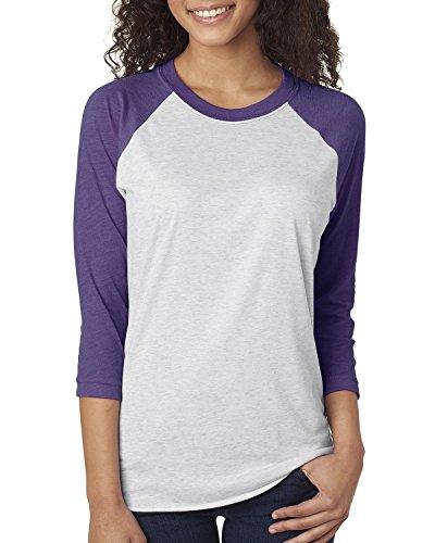 Nächste Level Unisex Tri Blend 3/4Arm Raglan–6051 Gr. Large, Vintage Purple/Heather White (Raglan Blend)