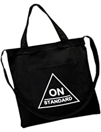 Mfiiden Fashion Canvas Bag On Standard Bag Shopping Tote Bag For Women And Student Black Canvas Tote Bag