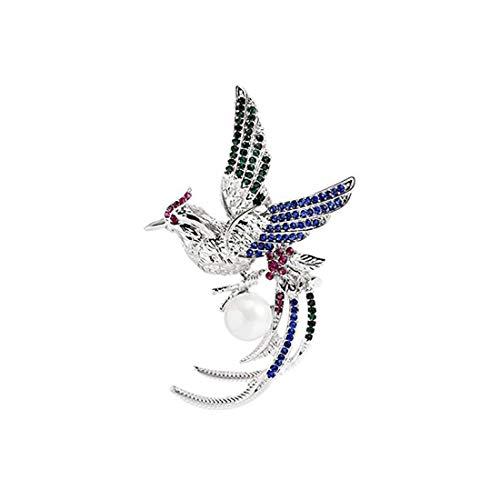 Indian Handicrafts Export YouBella Jewellery Gracias Collection Multicoloured Crystal Bird Shape Brooch for Men and Women (Love Brooch Birds)