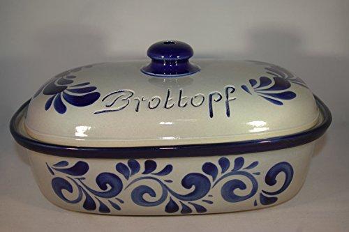 Brottopf 30 cm grau-blau Oval , Steinzeug Westerwald