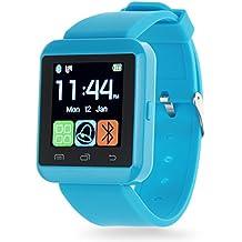 Smartwatch Padcod Bluetooth Smart Watch Reloj Inteligente U8 Bluetooth Soporte Smartwatch Reloj de Pulsera, Llamadas Manos Libres, Anti-Pérdida, SMS/SNS Alertas de Mensajes, Reloj Deportivo con Podómetro, Monitor de Sueño Uwatch para Teléfonos Inteligentes Android Samsung HTC LG SONY Huawei IOS iPhone 5 / 5s / 6/7/8 / 8plus iPhone X (Azul)