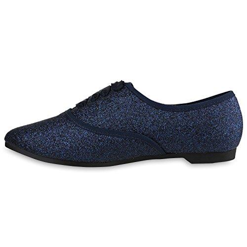 Damen Halbschuhe Klassische Schnurer Lederoptik Velours Basic Schuhe