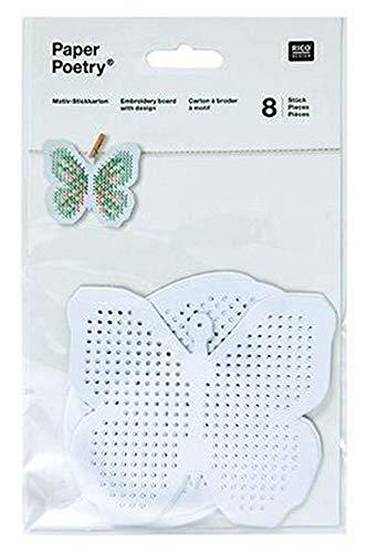 Motiv Stickkarton 8 Stück Schmetterlinge und Eier
