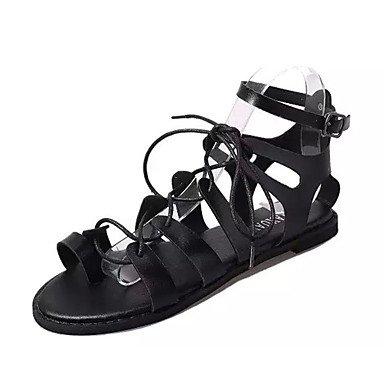 LvYuan Sandalen-Lässig-PU-Flacher Absatz-Komfort-Schwarz Weiß Black