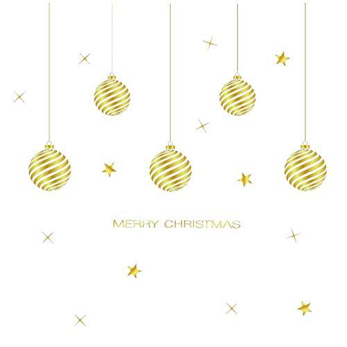 ITCHIC Decorazioni Natalizie Senza Colla Adesivi Elettrostatici Merry Christmas Gold Household Wall Sticker Murale Decor Decal Rimovibile Adesivo Murale di Natale Carino Adesivo Decorazione Moda