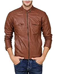 Urbano Fashion Men's Brown Faux Leather Jacket