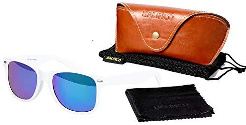 Balinco Hochwertige Polarisierte Nerd Rubber Sonnenbrille im Set (24 Modelle) Retro Vintage Unisex Brille mit Federscharnier (White-Blue Mirror)