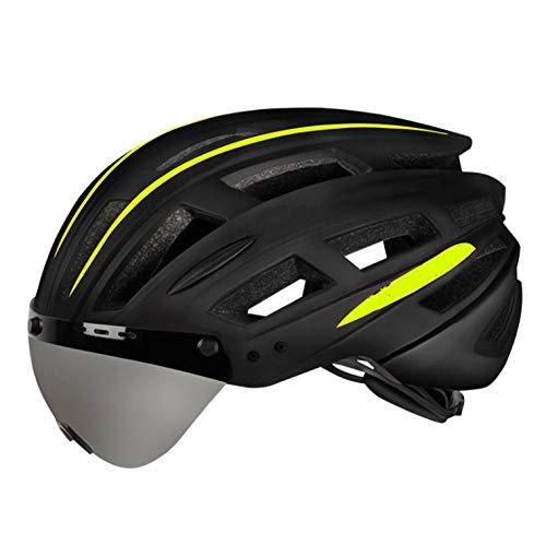 Outdoor-QJ Mode lässig reithelm Mountain Road Fahrrad männliche Brille Schutz eine weibliche schutzhut mit Brille fahrradhelm schwarz_und_gelb_ (USB_Schwanz_licht)