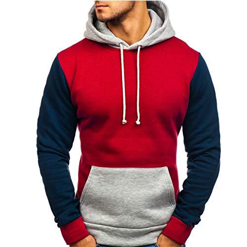 (Männer Spleißen Hoodies Mann Langarm Mit Kapuze Sweatshirt Mode Voll Ärmeln Männlichen Knopf Pullover Tops Bluse Bunten Pullover Moonuy)