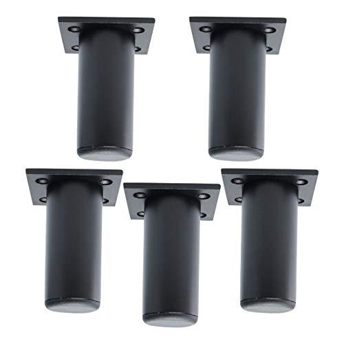 sourcing map 5stk. Möbel Beine Aluminiumlegierung Tischfüße Ersatz Höhenversteller Schwarz 3