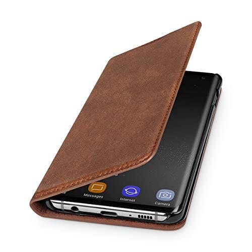 WIIUKA Echt Ledertasche - TRAVEL Nature - für Samsung Galaxy S10 - DEUTSCHES Leder - Vintage Braun, mit Kartenfach, extra Dünn, Tasche, Premium Leder Hülle kompatibel mit Samsung Galaxy S10