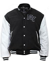 Veste de baseball avec badge NY Noir/Blanc