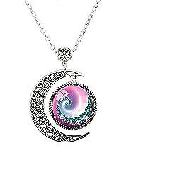 Colgante en espiral De Media Luna con Círculo Fractal Rosa y Azul